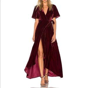 Privacy Please Velvet Wrap Maxi Dress In Burgundy